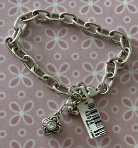 "Brighton ALCAZAR Crystal Removable Charm Adjustable Chain Bracelet Silver 8"" NWT"