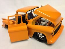 "1955 Chevy Stepside Pickup Truck, 8.5"" Diecast 1:24 Collectible, Jada Toy Orange"