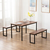 3PC Wood Dining Table and Chairs Set Breakfast Nook Kitchen Furniture 2 Benches