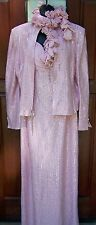 St. John Evening gown and jacket pink 14 studded shimmer zip front neck boa NWOT