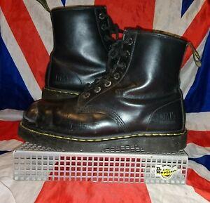 Unique*Exposed Steel Toecap Black Leather Dr Doc Martens*Cyber Punk Skin Goth*10