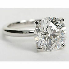 Moissanite Solitaire Ring 14K White Gold 3Ct Charles and Colvard Forever One