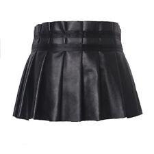 Women's Pleated Leather Belt Peplum Mini Short Ruffle Skirt Party Clubwear Dress