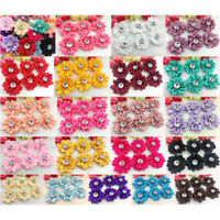 5/20/40pcs Satin Ribbon Flowers Bows with Appliques Sewing DIY Craft Wedding