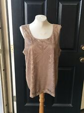 New Chico's Travelers Crochet Shimmer Tank Top Mojave Sand Size 3 = XL 16 18 NWT