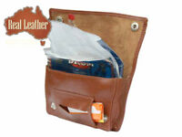 NEW Handmade Cow LEATHER Tobacco Pouch with PAPER Holder REAL Leather Pouch !