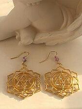 MANDALA EARRINGS GOLD FLOWER BLESSED MEDITATION INDIAN sacred geometry YOGA
