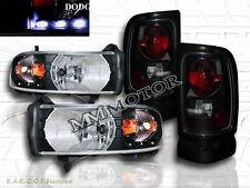 94-01 DODGE RAM PICKUP LED HEADLIGHTS BLACK W/ AMBER & DARK SMOKE TAIL LIGHTS
