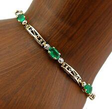 Women's Natural Emerald & Diamond Statement Bracelet in 10k Solid Gold