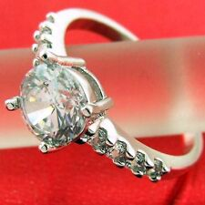 RING REAL 18K WHITE G/F GOLD GENUINE DIAMOND SIMULATED ANTIQUE ENGAGEMENT DESIGN