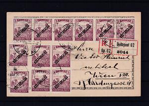 Außergewöhnlich frankierte Reco Postkarte von Budapest nach Wien 1925
