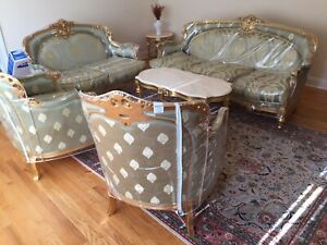 Living Room Set Sofa Loveseat & 2 Chairs With 3 Tables Timeless Italian Antique