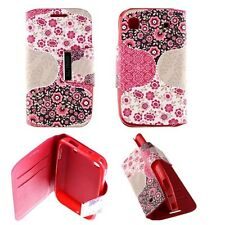 Housse Coque Etui Samsung Galaxy S i9000 Pink Flowers Simili Cuir Protection