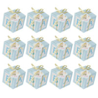 12PCS Baby Shower Favor Gift Candy Sweets Boxes Birthday Party Decor Pink Blue