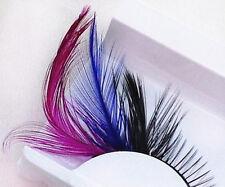 P4 One Pair Red Blue Feathered Eyelashes Coloured Rainbow  show False Eyelash