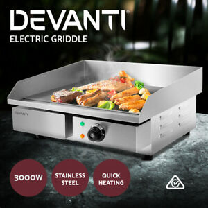 Devanti Commercial Electric Griddle BBQ Grill Pan Hot Plate Stainless Steel