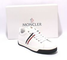 MONCLER 008 Mens White / Blue Leather / Lace-Up / Low-Top Sneakers 40 / US 7