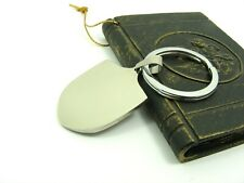 STAINLESS STEEL Silver Tone Plain Dog TAG Key RING ~~Long Plain or Shield Tag ~~