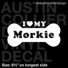 "6.5"" MORKIE vinyl decal car window laptop sticker - dog breed rescue"
