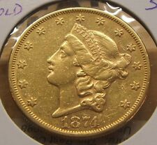1874-S~~$20 DOLLAR GOLD DOUBLE EAGLE~~VF BEAUTY