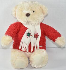 Hallmark JINGLE BELLS CHRISTMAS TEDDY BEAR Red Sweater STUFFED PLUSH Soft Toy