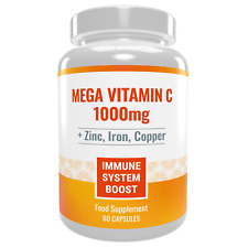 Vitamin C 1000mg + Zinc, Iron, Copper. Powerful Immune System Boost. 60 capsules
