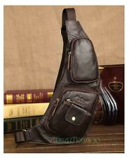 Men Vintage Genuine Leather Travel Riding Messenger Shoulder Sling Chest Bag New