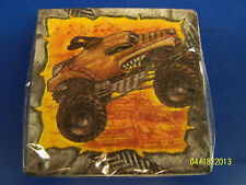RARE Monster Truck Jam Rally Race Kids Birthday Party Paper Beverage Napkins