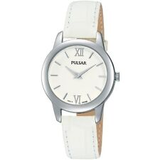 Pulsar Ladies White Dial & Leather Strap Watch PRW019X1