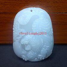 Beautiful Exquisite Chinese White Natural Jade Pendant  Amulet tiger