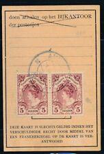 2 x 5 GULDEN NR.79 OP ½ POSTBUSKAARTJE AMSTERDAM 1.VII.1920, ½ JAAR TARIEF Ae261