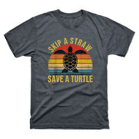 Skip A Straw Save A Turtle Vintage Men's Short Sleeve Tee Retro Cotton T-Shirt