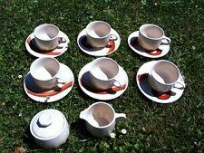MIKASA INDIAN FEAST SPECKLED BISCUIT 6 Kaffeetassen CUPS SAUCERS SUGAR MILK
