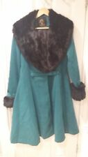 Hell Bunny shonna Teal flormal VINTAGE 50 S Collo In Pelliccia Cappotto Invernale UK