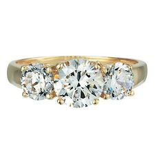 SPECIAL ORDER 14K SOLID GOLD GR01190 2CT TW CZ CLEAR ROUND 3 STONE RING GORGEOUS