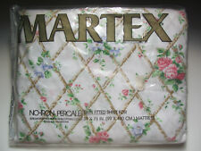 TWIN FITTED SHEET - Pink & Blue Roses Country Cottage Chic Vtg Martex New in Pkg