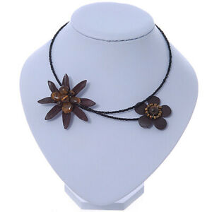 Brown Leather Semiprecious Stone Double Flower, Black Glass Bead Flex Wire