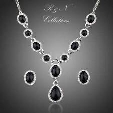 Black Silver Platinum Plated Made With Swarovski Crystal Earrings Necklace Set