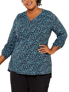 Kiabi BLACK Floral Print Cotton Rich Henley Long Sleeve Top Plus Size 18 - 32