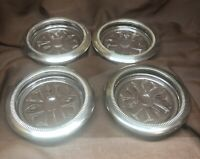 4 Vintage Primrose Brass Rimmed Glass Coasters Barware Italian