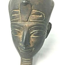Vintage Hand Carved Iron Wood Pharaoh Head Egyptian King Tut Tutankhamen Rare