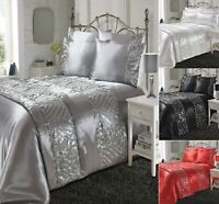 Luxuries Crystal SHIMMER Diamante Duvet Quilt Cover Set+Pillow Case Bedding Set