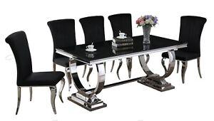 Vienna Black Glass Chrome Steel Dining Table & 4, 6, 8 Black / Grey Chairs