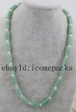 """green jade pillar and white pearl 8*16mm  necklace 19"""" wholesale beads nature"""