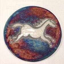 Horse Coaster Raku Pottery, handmade, handsigned - NEW