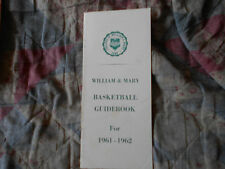 1961-62 WILLIAM & MARY BASKETBALL MEDIA GUIDE Yearbook 1962 Press Book W&M AD