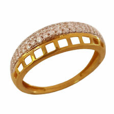 22Kt Solid Yellow Gold Engagement Band Finger Ring Cubic Zirconia Fine Jewelry