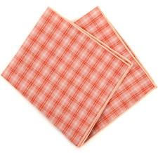 Cotton Pocket Square Peach Plaid