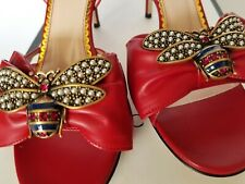 New Auth Gucci Queen Bee Embellished Bow Leather Heel Sandal Red Eur 39/US 9