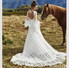 Bohemia Boho Wedding Dress Deep V Neck Country Bridal Gown Fairy Medieval 2018